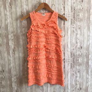 Crewcuts girls orange cotton ruffle dress